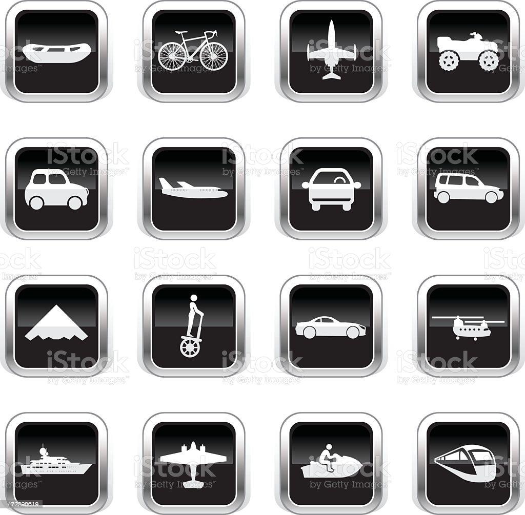 Supergloss Black Icons - Transportation royalty-free stock vector art