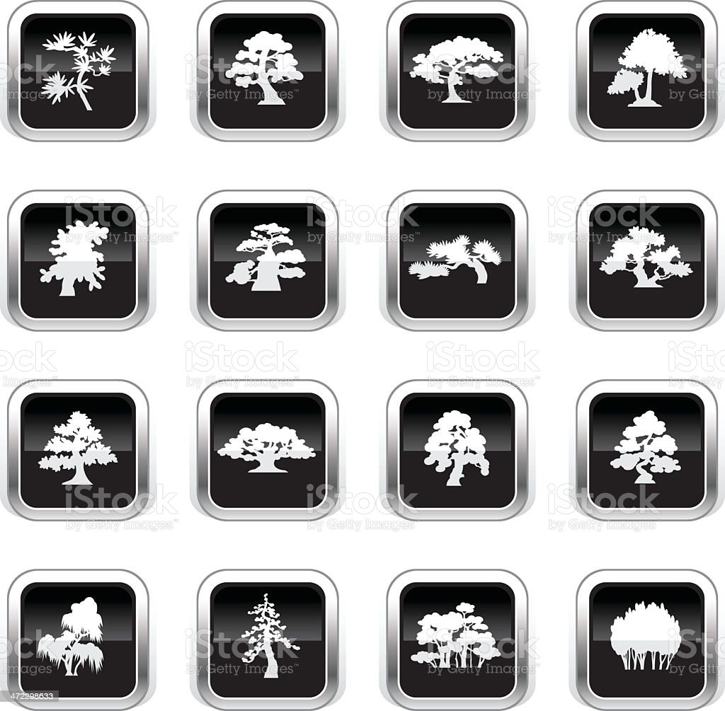 Supergloss Black Icons - Trees Species vector art illustration