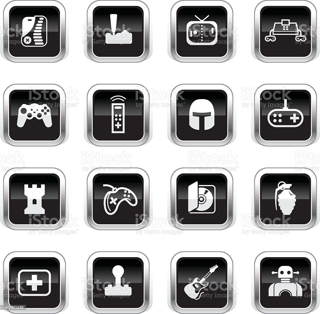 Supergloss Black Icons - Video Gaming vector art illustration