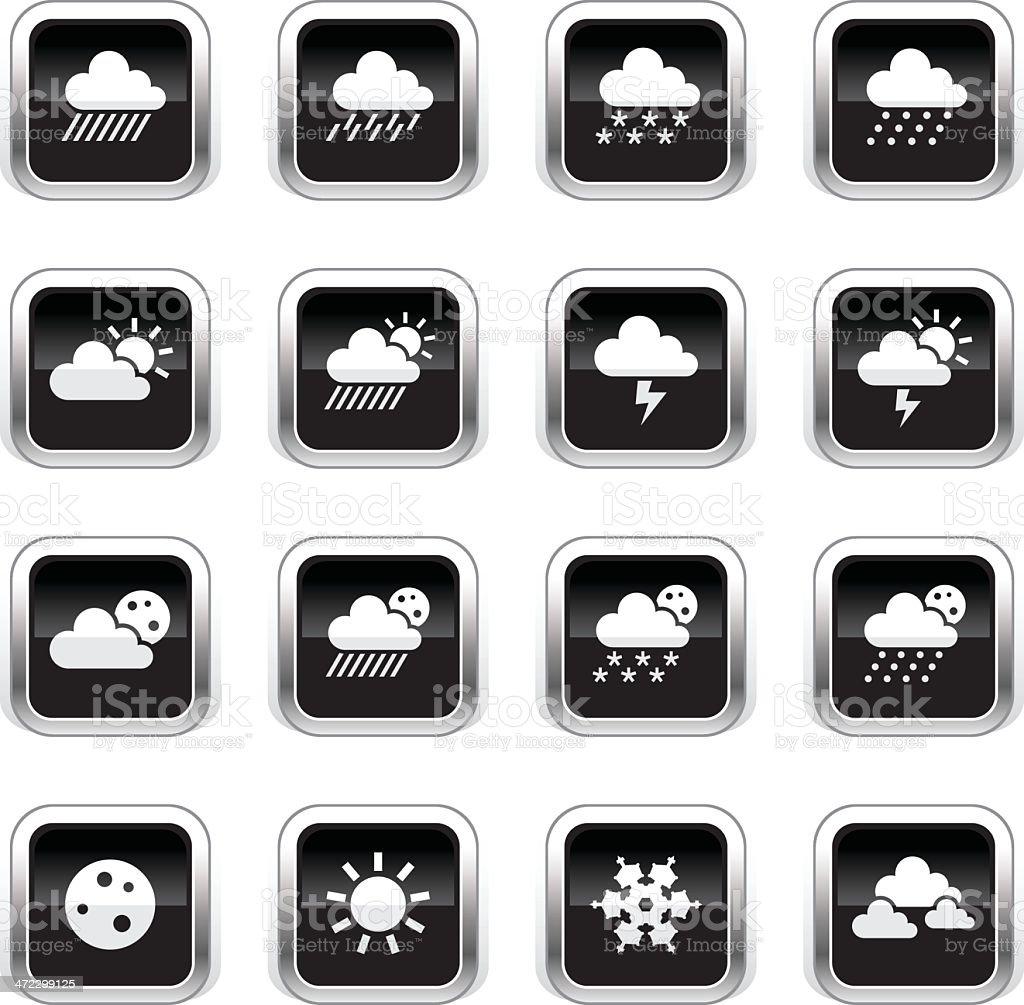Supergloss Black Icons - Weather royalty-free stock vector art