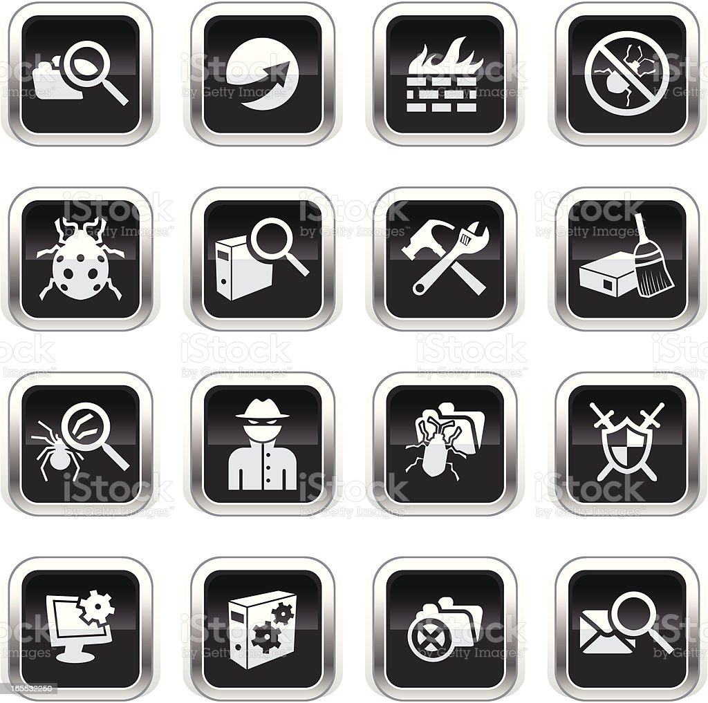 Supergloss Black Icons - Web Security vector art illustration