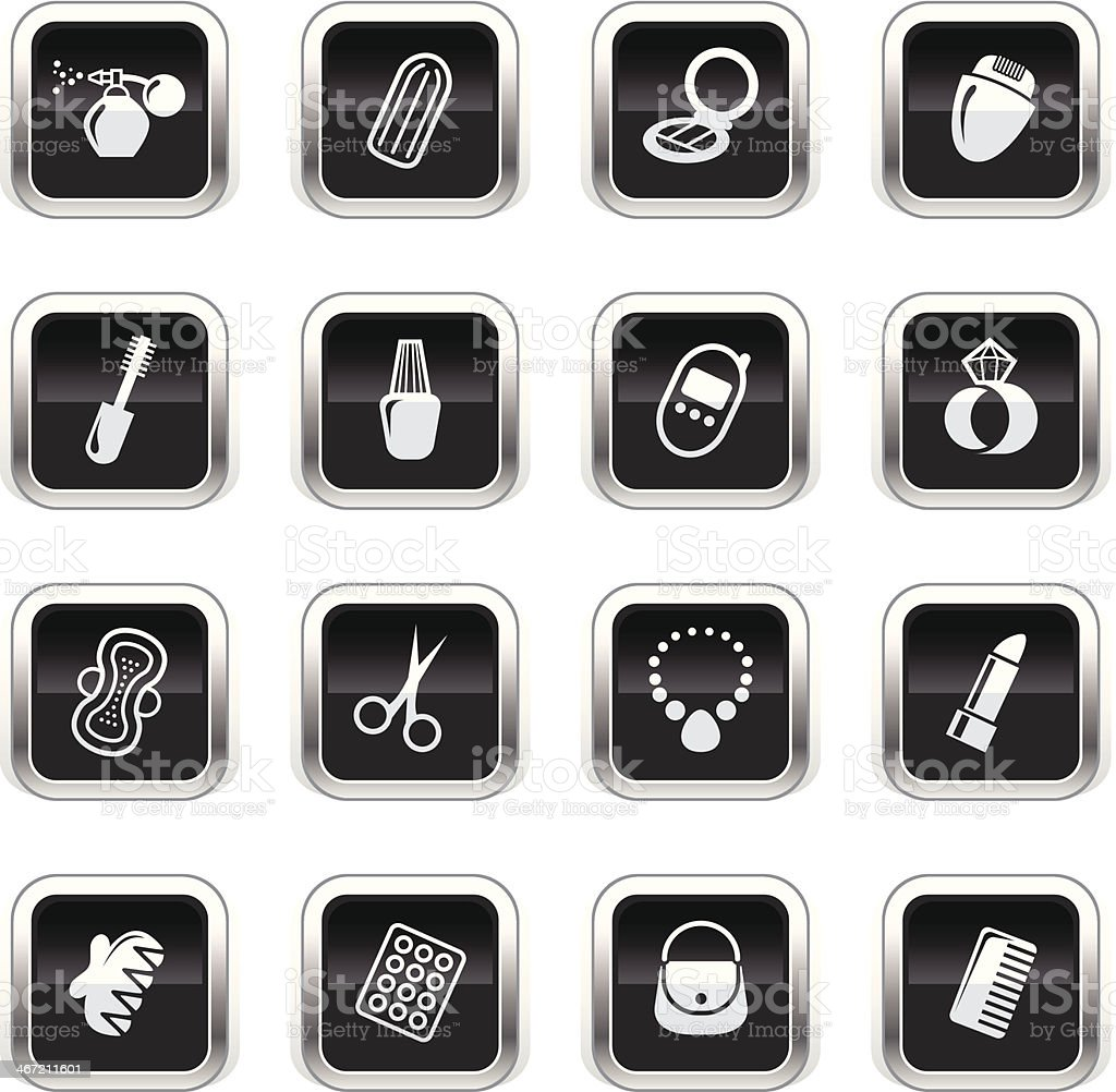 Supergloss Black Icons - Woman's Accessories royalty-free stock vector art