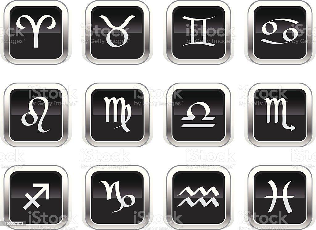 Supergloss Black Icons - Zodiac royalty-free stock vector art