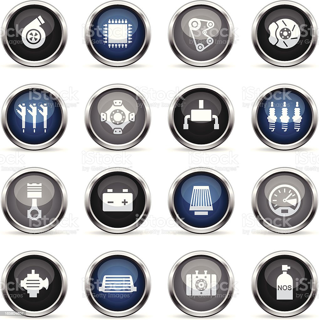 Supergloss Icons - Car Performance Parts royalty-free stock vector art