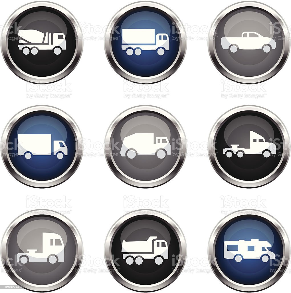 Supergloss Icons - Cartoon Trucks royalty-free stock vector art