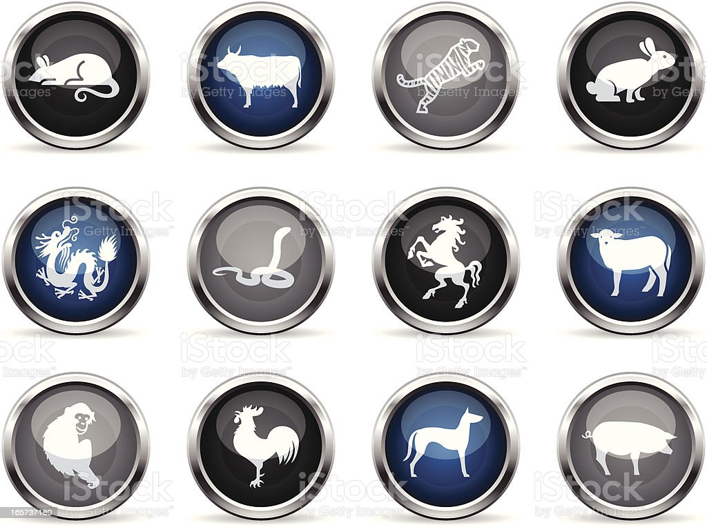 Supergloss Icons - Chinese Zodiac royalty-free stock vector art