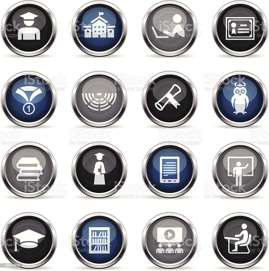 Supergloss Icons - College & Students royalty-free stock vector art