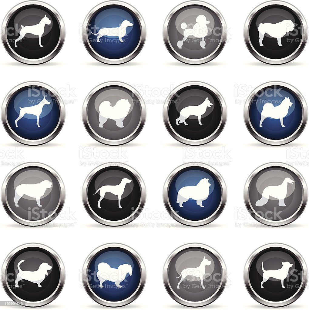 Supergloss Icons - Dogs vector art illustration
