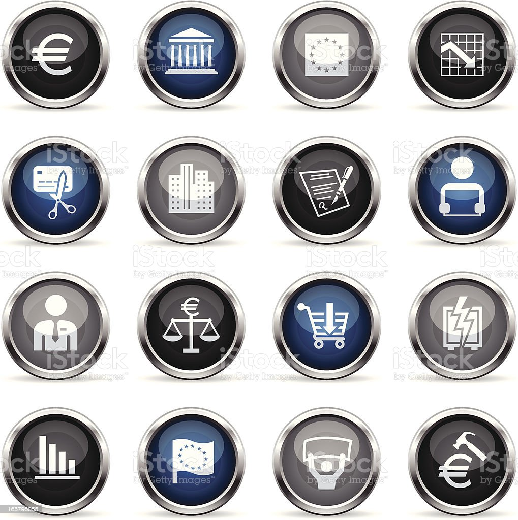 Supergloss Icons - European Union Recession royalty-free stock vector art