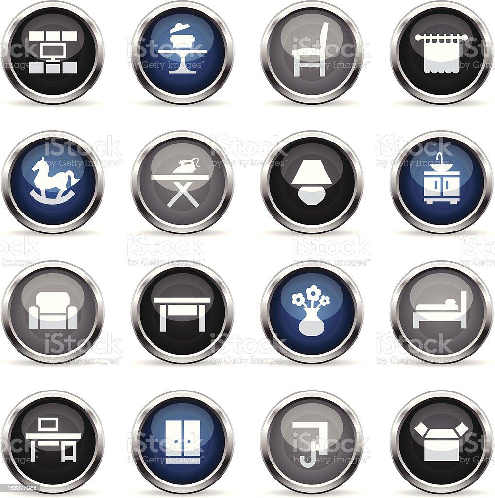 Supergloss Icons - Furniture Categories vector art illustration