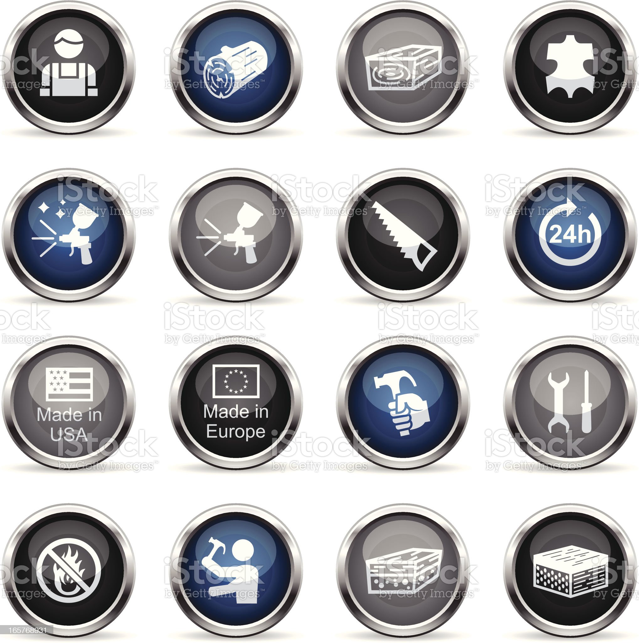 Supergloss Icons - Furniture Fabrication royalty-free stock vector art