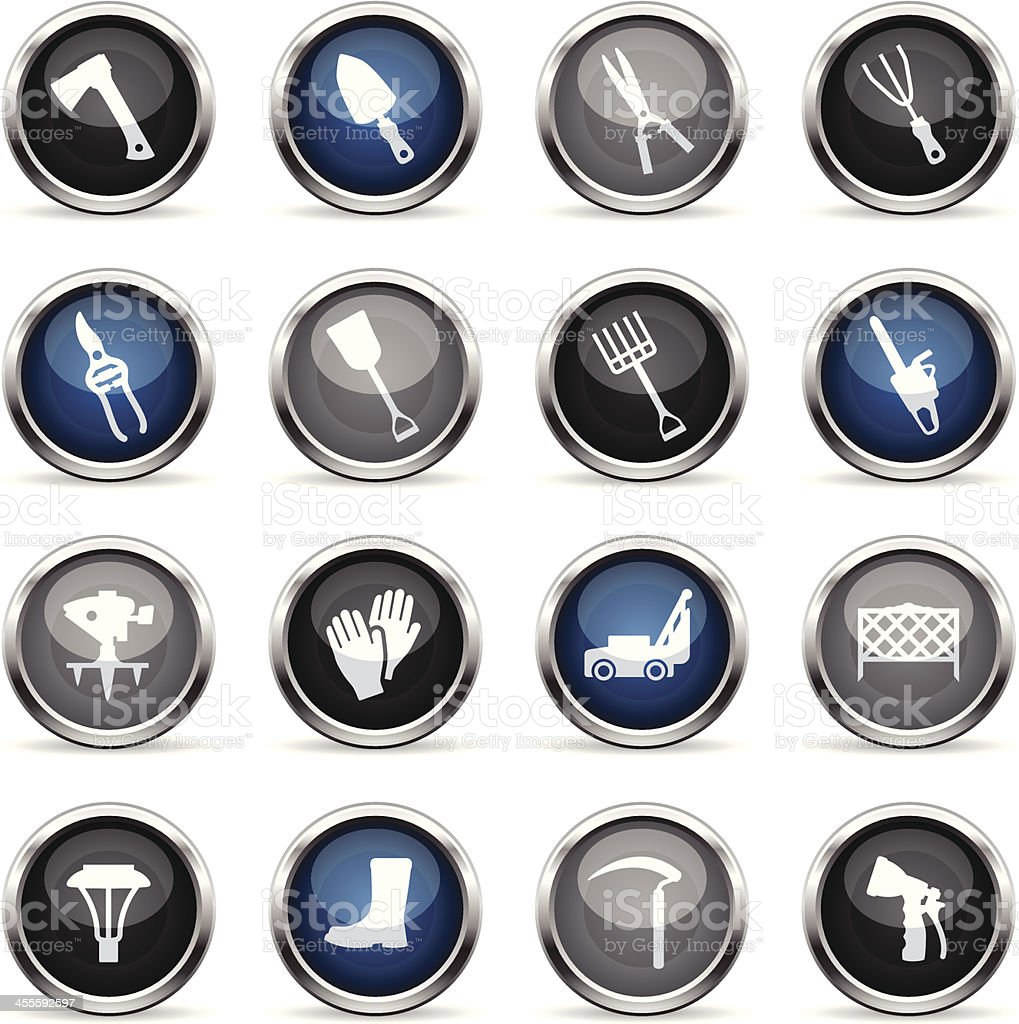 Supergloss Icons - Lawn & Garden Tools royalty-free stock vector art
