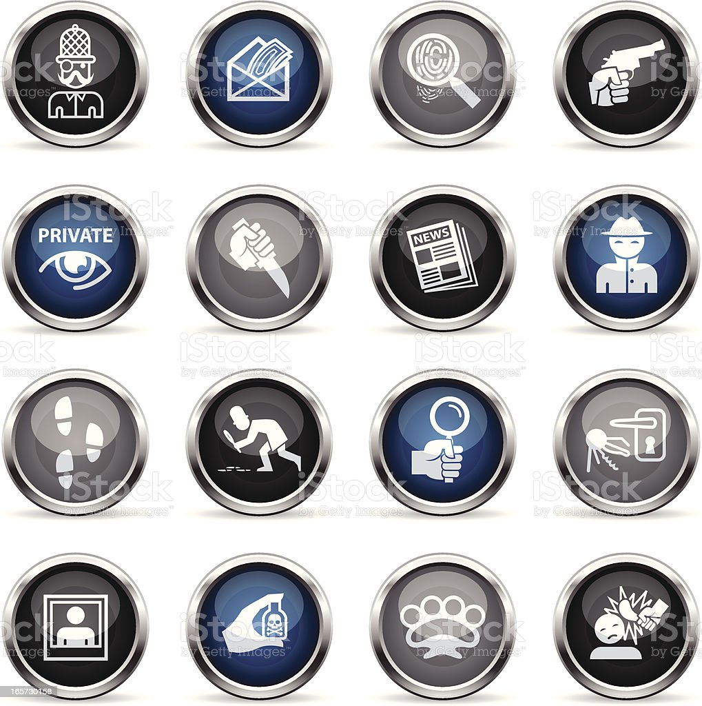 Supergloss Icons - Private Eye & Detective vector art illustration