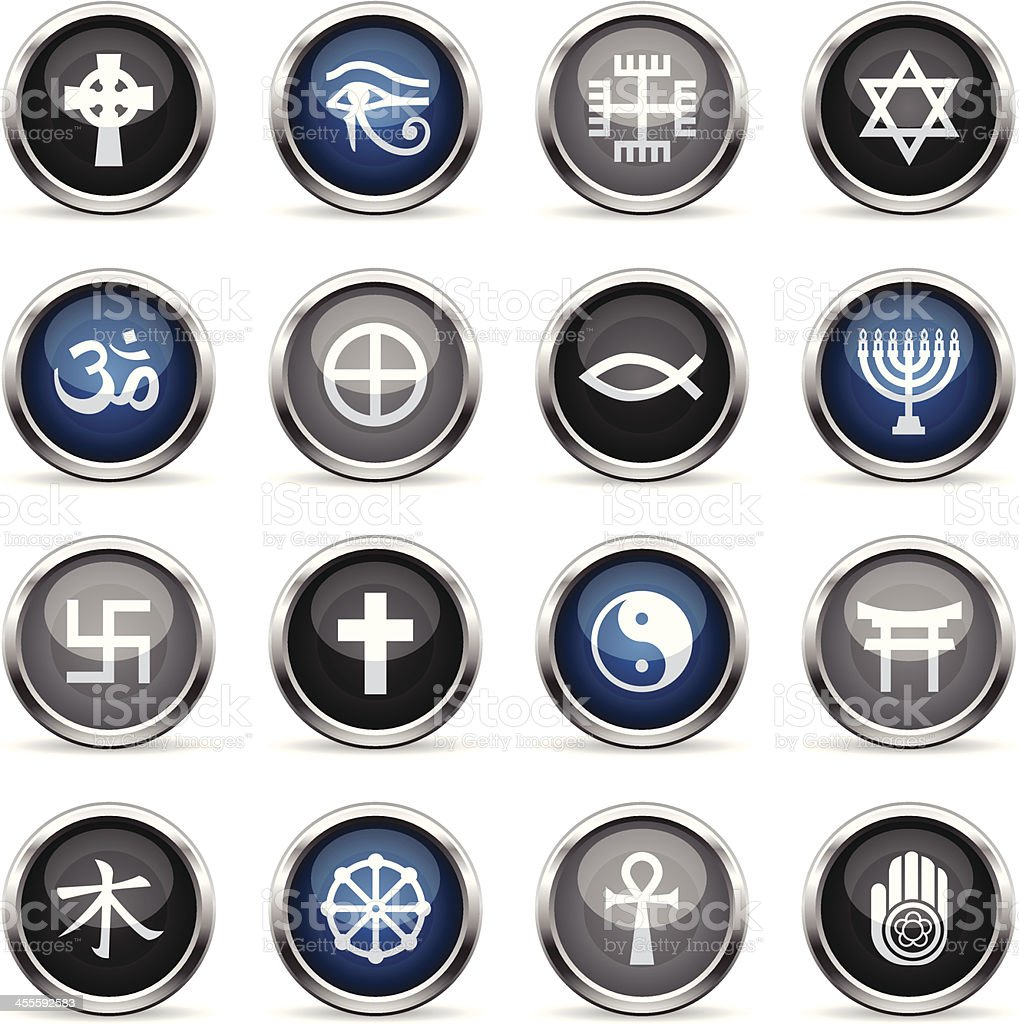 Supergloss Icons - Religious Symbols royalty-free stock vector art