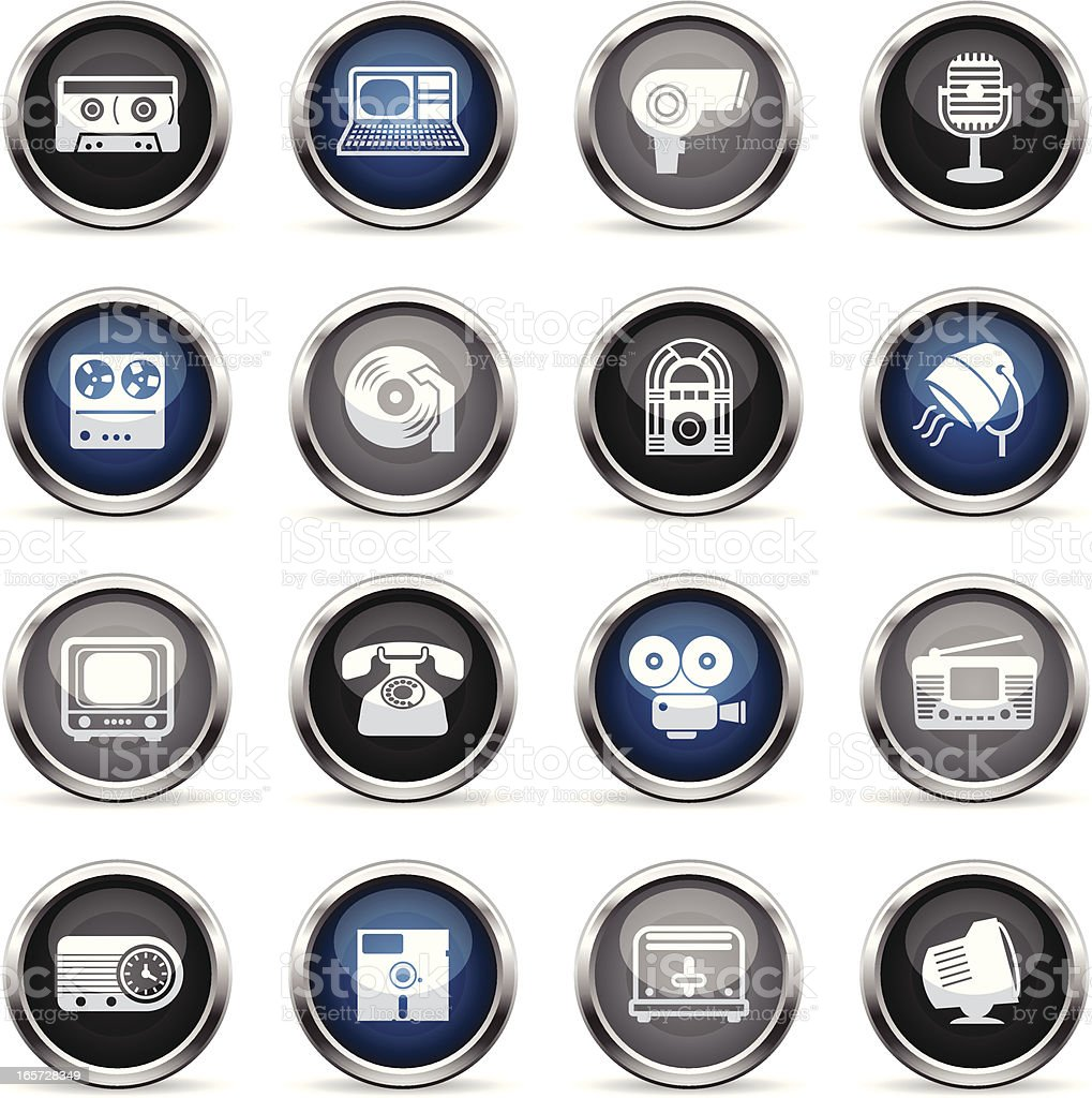 Supergloss Icons - Retro Electronics vector art illustration