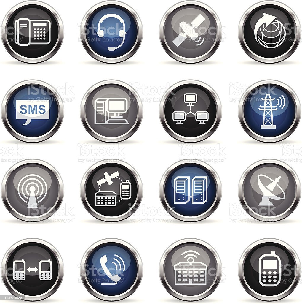 Supergloss Icons - Telecommunications royalty-free stock vector art