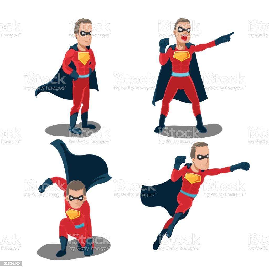 Superhero Actions Cartoon Character Set Vector vector art illustration
