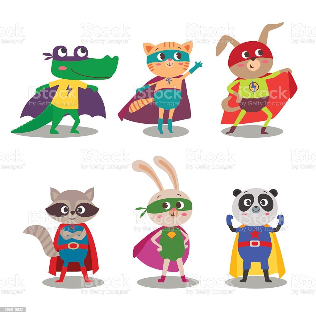 Superhero animal kids. Cartoon vector illustration vector art illustration