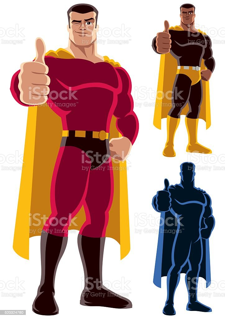 Superhero Approving vector art illustration