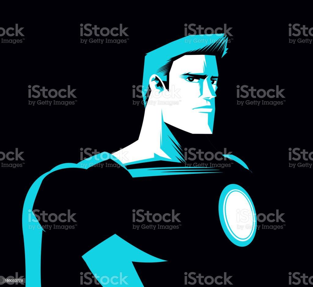 Superhero at night with light blue shadow vector art illustration