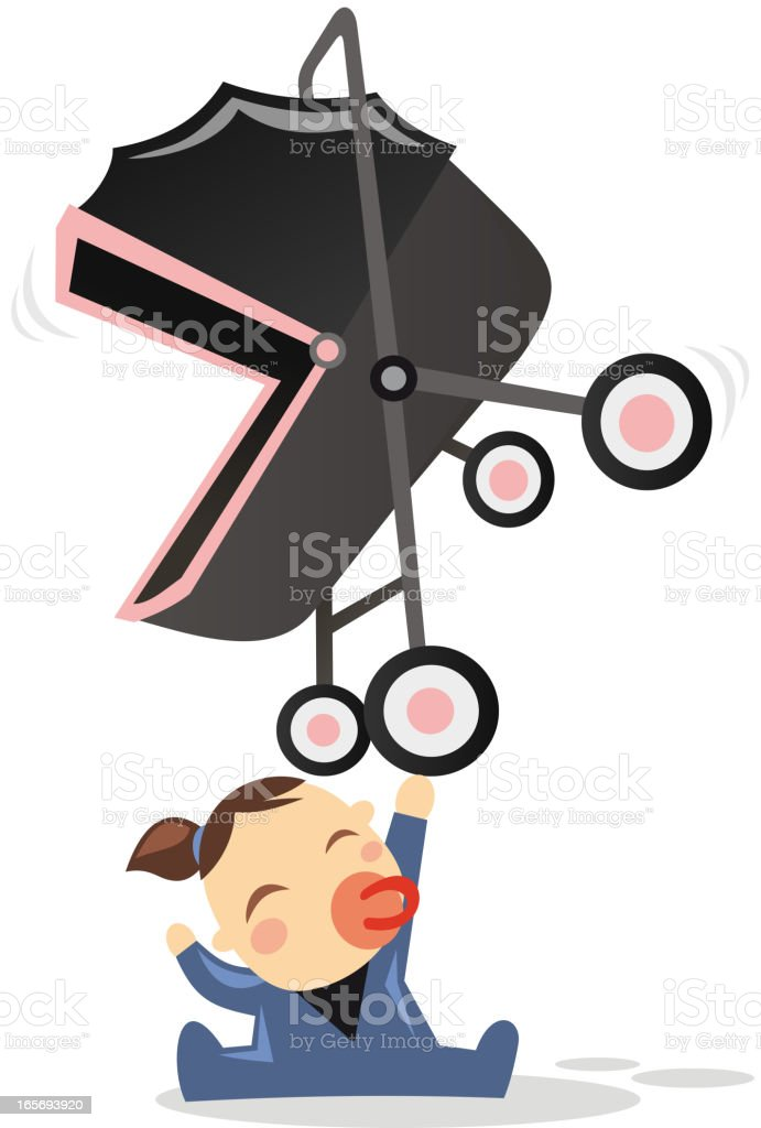 Superhero baby happily holding a stroller with one hand. vector art illustration
