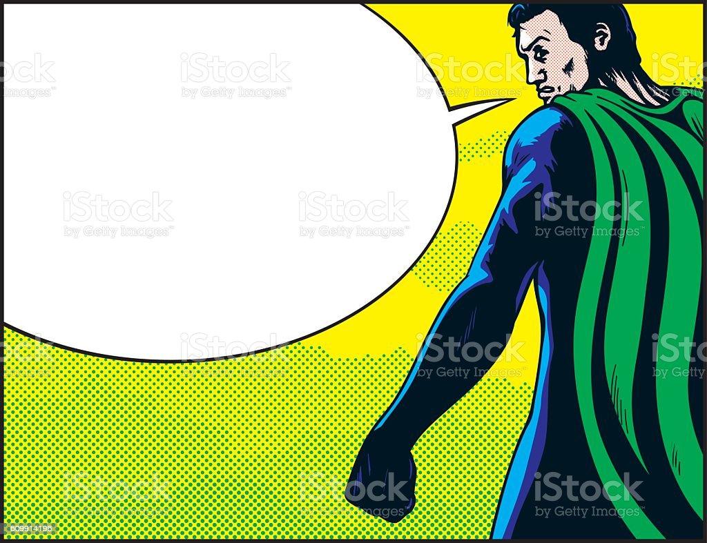 Superhero back speech vector art illustration
