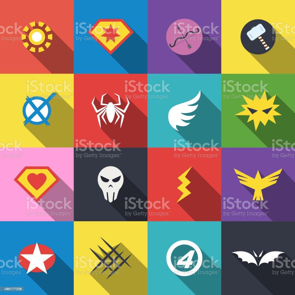 superhero badge logo vector art illustration