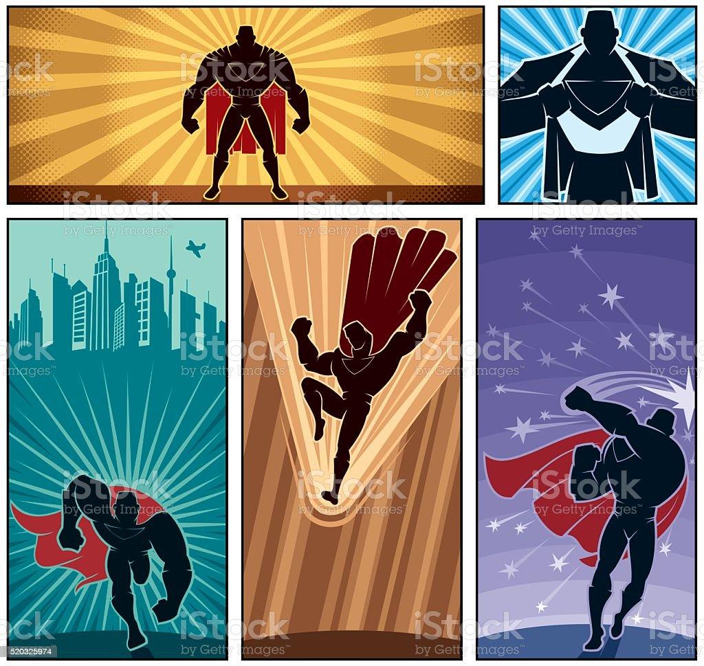 Superhero Banners 2 vector art illustration