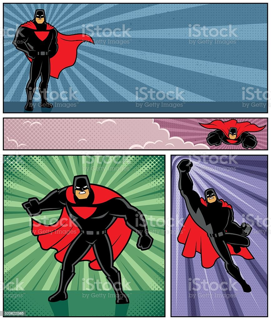 Superhero Banners 4 vector art illustration