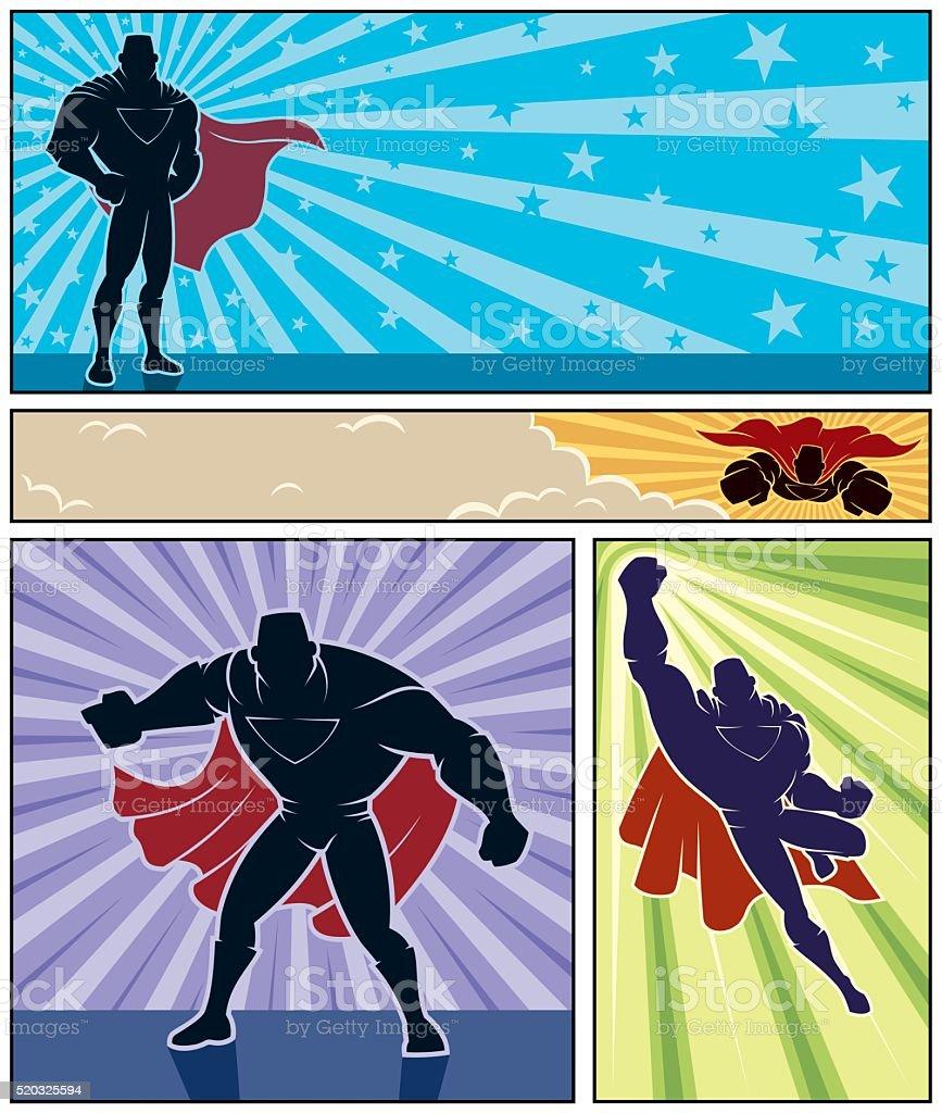 Superhero Banners vector art illustration
