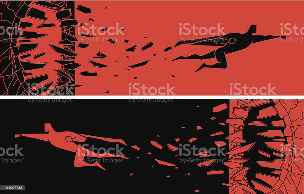 Superhero Breaking Through Silhouette vector art illustration