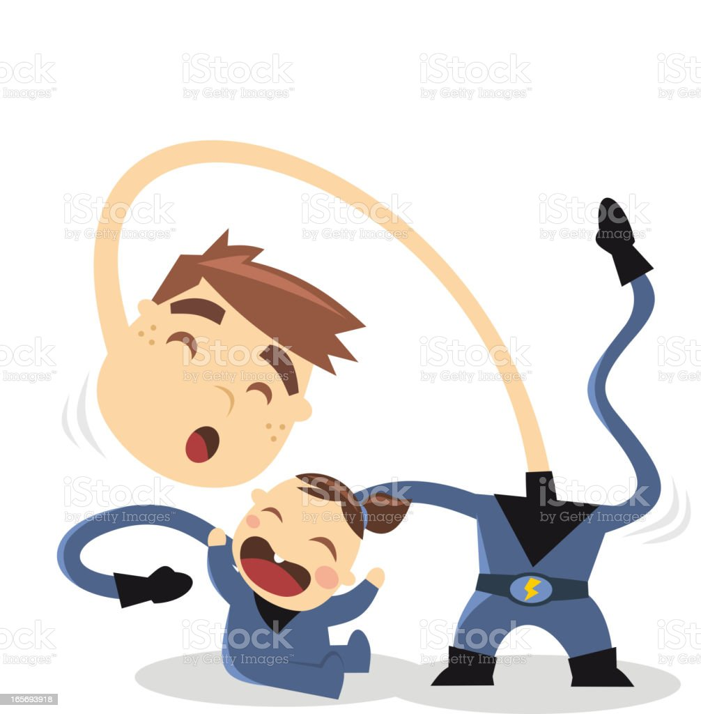 Superhero brothers playing with hero powers royalty-free stock vector art