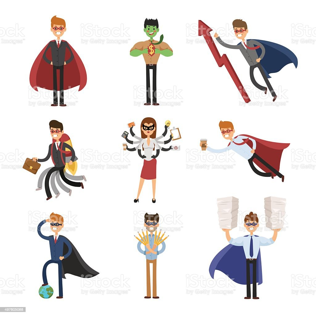 Superhero business man and woman in action vector set vector art illustration