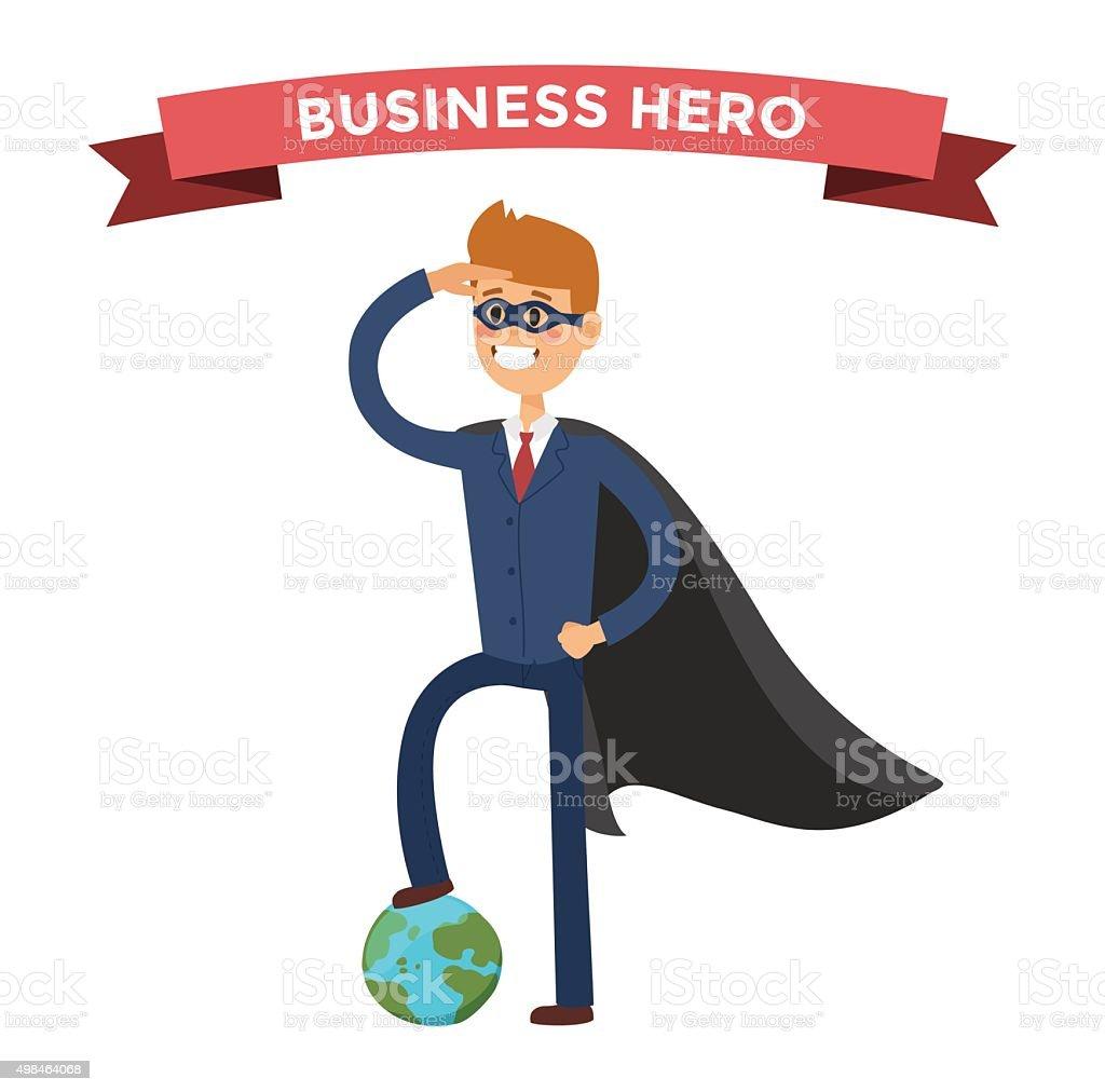 Superhero business man in action vector vector art illustration