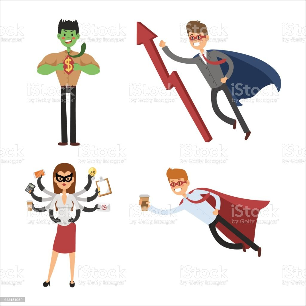 Superhero business man woman vector illustration set character success cartoon power concept businessman strong person silhouette leader team isolated vector art illustration