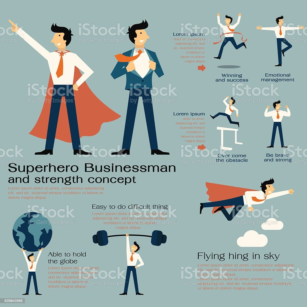 Superhero businessman vector art illustration