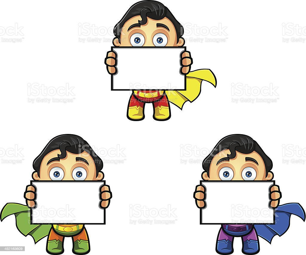 Superhero Character - Holding Blank Board royalty-free stock vector art