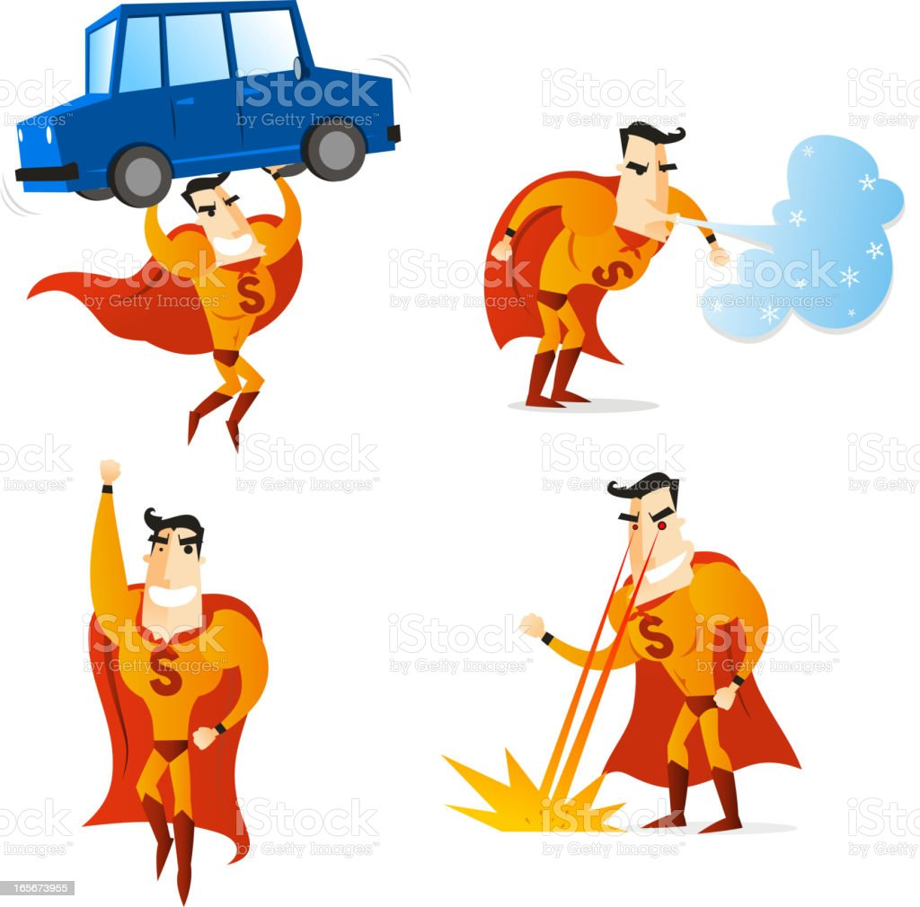 Superhero Character Set royalty-free stock vector art