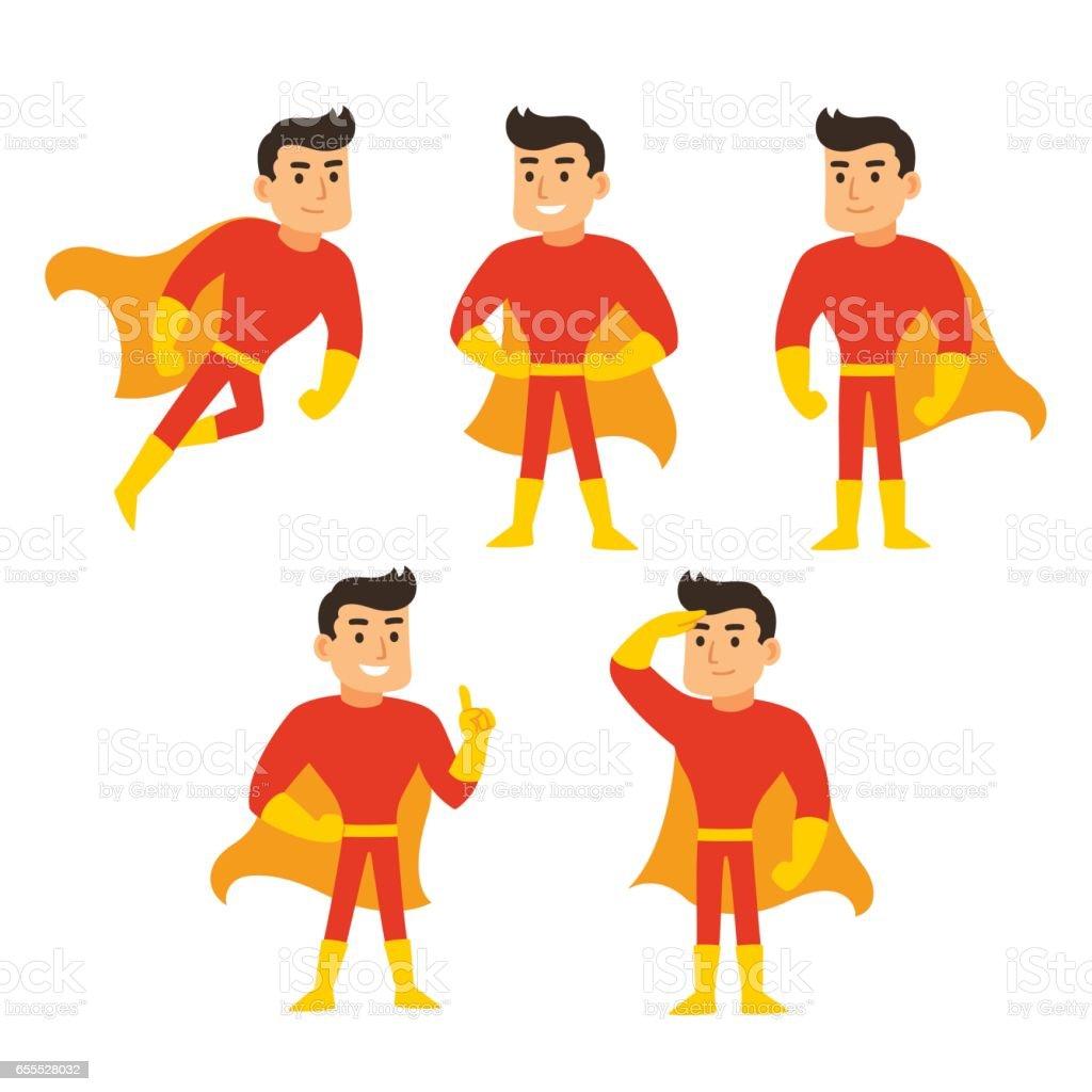 Superhero character set vector art illustration