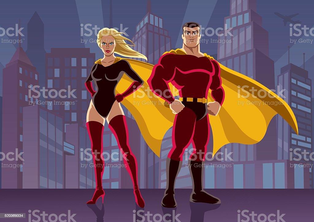 Superhero Couple 2 vector art illustration