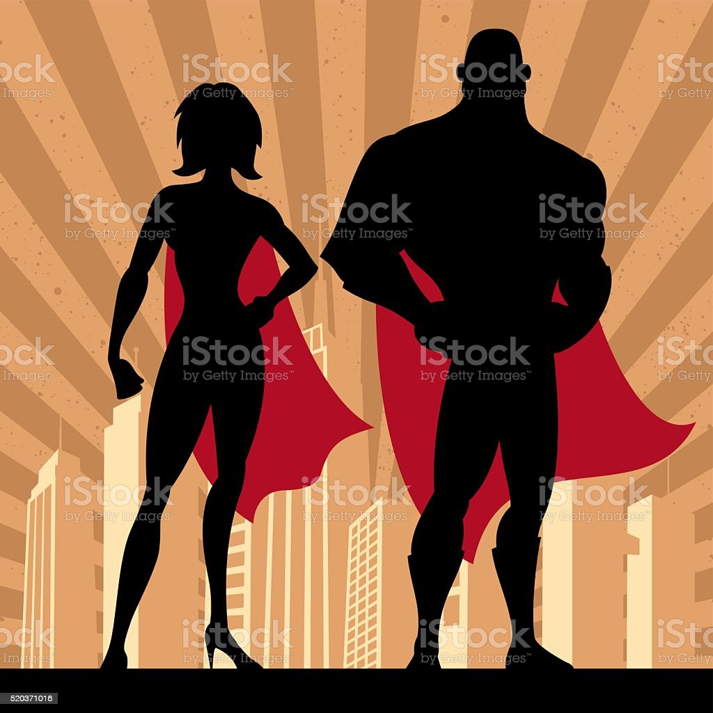 Superhero Couple 4 vector art illustration