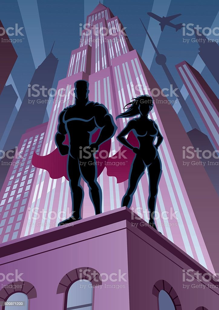 Superhero Couple 5 vector art illustration