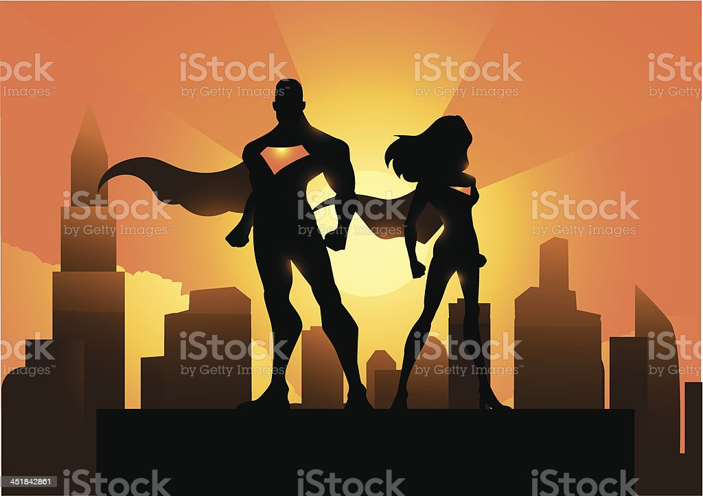 Superhero couple in the city vector art illustration