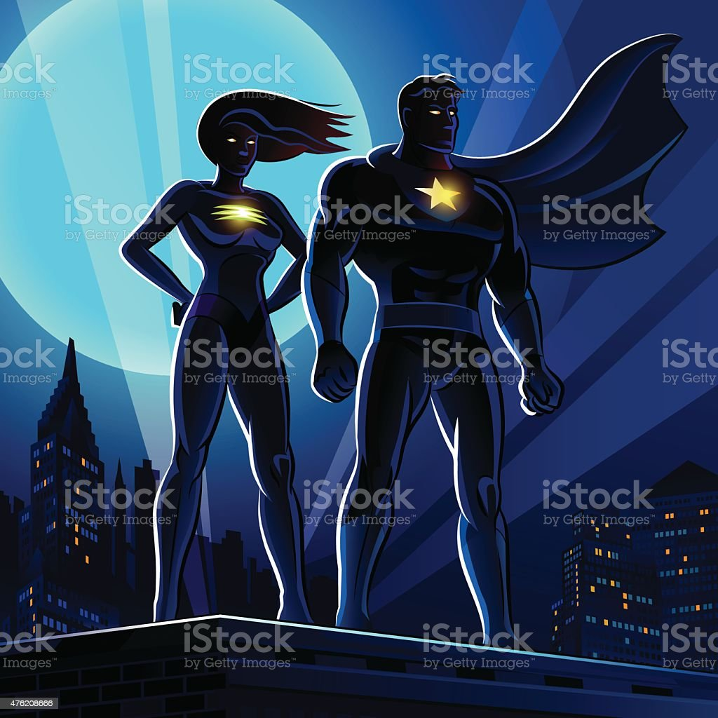 Superhero Couple: Male and female superheroes. Vector illustration vector art illustration
