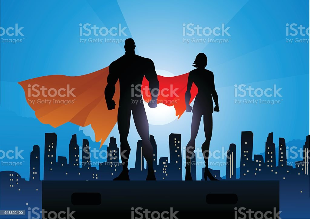 Superhero Couple Silhouette in The City vector art illustration