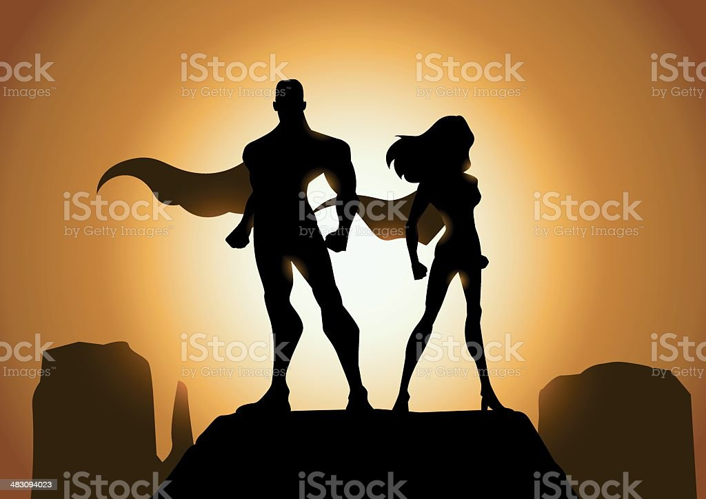 Superhero Couple Silhouette vector art illustration
