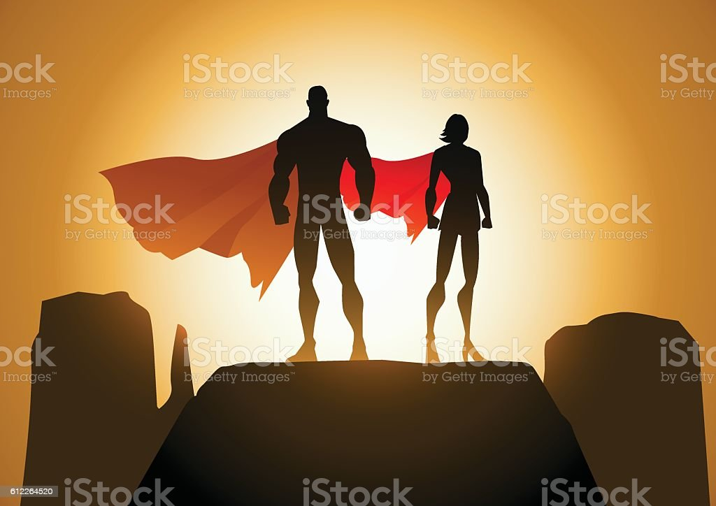 Superhero Couple Silhouette Vector vector art illustration