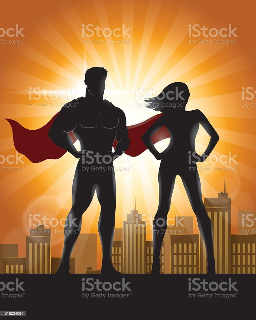 Superhero Couple Silhouette with City Skyline Background vector art illustration