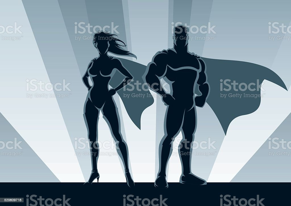 Superhero Couple vector art illustration