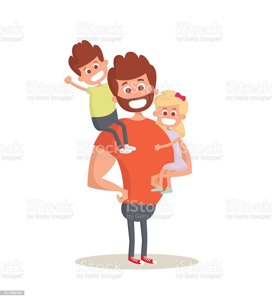 Superhero dad concept. Strong Dad holding his two children. vector art illustration